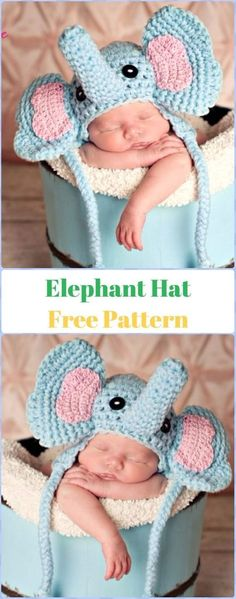Crochet Hats Ideas Crochet Elephant Hat Free Pattern - Crochet Elephant Free Pattern - Crochet Elephant Softies and More Free Patterns Tutorials: Amigurumi Elephant Toys, Kids, Baby Booties, Hair Tie, Snuggles and Crochet Baby Hats Free Pattern, Newborn Crochet Patterns, Crochet Baby Beanie, Crochet Baby Clothes, Crochet Blanket Patterns, Baby Blanket Crochet, Baby Patterns, Hat Crochet, Newborn Crochet Outfits