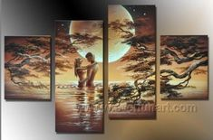 Classical+Romantic+Nude+Lover+_Canvas+Oil+Painting+Framed+African+Art+(++Frame)+AR-025