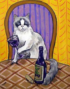 Rag doll cat art PRINT folk pop art abstract 8x10 new gift JSCHMETZ wine modern #Impressionism