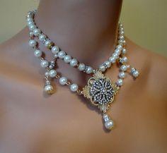 Elegant Victorian Bridal Necklace Pearls and Rhinestone Focal   by AlexiBlackwellBridal, $79.00