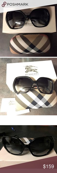 Burberry Black Oversized Sunglasses Elegant & Stylish Authentic Burberry Women's Sunglasses. B 4122 3001/T3 Oversized Black Frame and Plastic/Leather Arms with Burberry Signature Tartan Black Polarized Gradient Lenses. NWT Burberry Accessories Sunglasses
