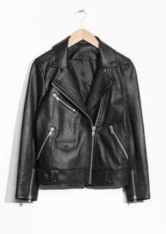 & Other Stories image 1 of Biker Leather Jacket  in Black