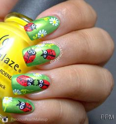 preciouspearlmakeup: Ladybug Nails and Tutorial