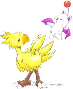 CHOCOBO and moogle by silverdragon27