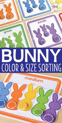 Teach colors with this cute Easter bunny theme activity. Kids can work on color sorting and matching, size sorting, and one-to-one correspondence with this hands-on Easter activity. Perfect for busy bags, and math centers in preschool, pre-k, and tot school. Activities for you Easter theme, bunny theme, Spring theme, pets theme unit and lesson plans.