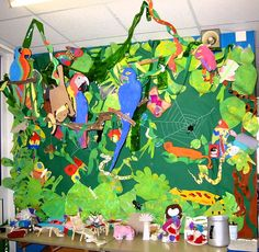 Jungle animal bulletin board idea for kids Happy animals There is an enormous rainforest and there are many [. Rainforest Classroom, Rainforest Crafts, Rainforest Activities, Rainforest Project, Rainforest Theme, Rainforest Animals, Jungle Animals, Jungle Activities, Preschool Themes