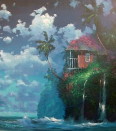 "Original Painting ""Tropicial Hideaway 1993"" by James Coleman"
