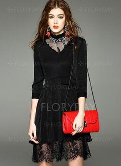Dresses - $89.08 - Polyester Solid 3/4 Sleeves Above Knee Vintage Dresses…