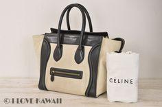 CELINE Black Leather / Beige Canvas  Luggege Mini Shopper Tote Bag