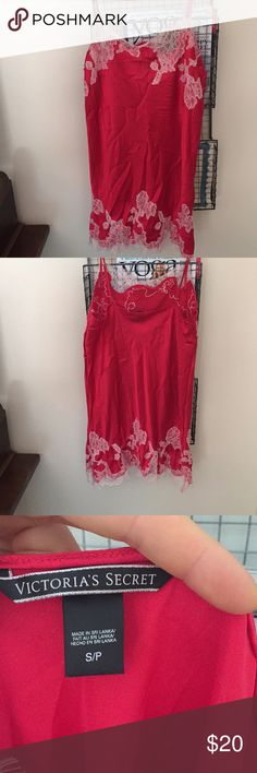 Victoria's Secret lingerie red silk w/ white lace! Very flattering nighty. Red silk with white lace trim. Size S from Victoria's Secret. Adjustable straps. Great condition!! Victoria's Secret Intimates & Sleepwear Chemises & Slips