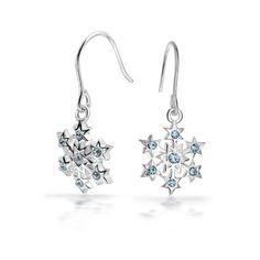 Bling Jewelry Silver Star CZ Snowflake Blue Topaz Colored Dangle... ($30) ❤ liked on Polyvore featuring jewelry, earrings, blue topaz earrings, blue topaz silver earrings, long earrings, dangle earrings and long silver earrings