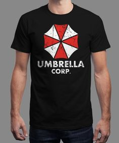 """Umbrella corp."" is today's £8/€10/$12 tee for 24 hours only on www.Qwertee.com Pin this for a chance to win a FREE TEE this weekend. Follow us on pinterest.com/qwertee for a second! Thanks:)"