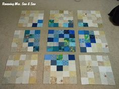 Blue heart quilt...or use a mix up of rainbow colours...or 50s fabrics...etc. Lovely idea for a wallhanging.