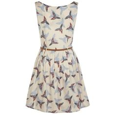 Mela Bright bird print belted dress (70 BRL) ❤ liked on Polyvore featuring dresses, cream, belted dress, bird print dress, bird dress, bright colored dresses and creme dresses