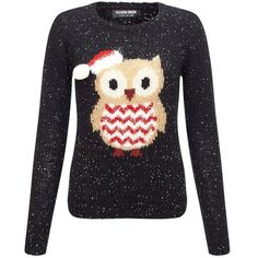 Fashion Union Candy Owl Xmas Jumper found on Polyvore featuring tops, sweaters, owl knit sweater, owl top, owl sweater, jumpers sweaters and christmas sweater