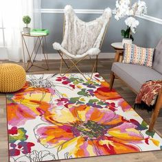 Bungalow Rose Tulsa Handmade Tufted Wool Brown Rug & Reviews | Wayfair Yellow Rug, Yellow Area Rugs, Pink Rug, Pink Yellow, Red And Blue, Colorful Garden, Brown Rug, Material Design, Cool Rugs