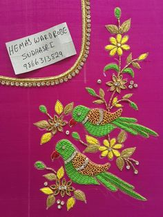 Sudhasri hemaswardrobe Zardosi Embroidery, Embroidery Works, Embroidery Motifs, Creative Embroidery, Embroidery Blouses, Best Blouse Designs, Simple Blouse Designs, Simple Designs, Peacock Embroidery Designs