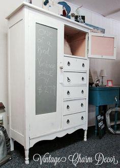 Antique Chifferobe makeover by Vintage Charm Decor. Love chalkboard panels!  www.vintagecharmdecor.com