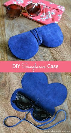 Learn how to make a DIY Sunglasses Case! Get a free pattern and tutorial to make this almost-no sew, super easy, super chic suede / leather sunglasses case! This simple DIY eye glasses case is cute and full of style ... perfect for lots of summer fun and
