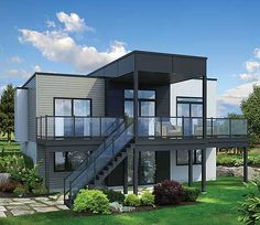 Architectural Designs 2 Bed Modern House Plan 80780PM Designed for a lot that slopes to the rear, this modern house plan has an open concept floor plan and great outdoor spaces. Under 1,000 square feet. Ready when you are. Where do YOU want to build?