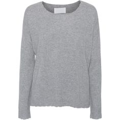ZADIG&VOLTAIRE Kim Patch C Heather Grey // Cashmere sweater with... ($395) ❤ liked on Polyvore featuring tops, sweaters, cashmere sweaters, leather elbow patch sweater, destroyed sweater, patch sweater and heather gray sweater