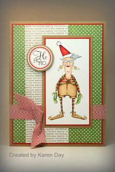This is my second card this week, using Santa's Helper - Eunice! And strangely enough. it's my third card using the Mojo Monday sketch? Christmas Cards To Make, Noel Christmas, Xmas Cards, Handmade Christmas, Vintage Christmas, Scrapbook Supplies, Scrapbook Cards, Scrapbooking, Art Impressions Stamps