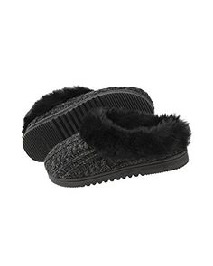 Dearfoams Women's Marbled Cable Knit Clog Memory Foam Slipper (Medium, Black) *** Check out this great product.