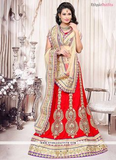 Astonishing Resham Work Red Lehenga Choli