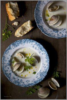 Creamy White Asparagus Soup with Fresh Briny Clams