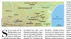 Historia / Châteaux cathares / Castles of the Cathares in Southern France, map created by Hugues Piolet for Historia Magazine