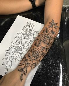 Let's take a look at some of the girly tattoos. I'm talking about the cute tattoos for girls. Get inspiration for a girly tattoo designs. Dope Tattoos For Women, Arm Tattoos For Women Forearm, Shoulder Tattoos For Women, Tattoos For Guys, Rose Tattoo Forearm, Forearm Sleeve Tattoos, Sleeve Tattoo Girls, Tattoo In Arm, Female Side Tattoos
