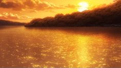 ☆**this is an animated gif~ please click to see the animation!** glowing sunset over a serene lake anime scenery, sparkling water reflection under the setting sun, beautiful realistic animation anime scenery gif