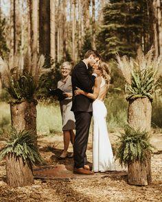 Yosemite Campground Wedding  #firstkiss #yosemitewedding