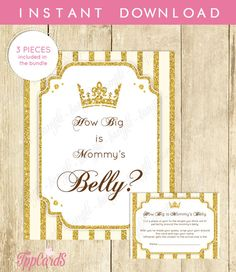 How Big Is Mommy's Belly Game - Printable Baby Shower Princess Gold Glitter Belly Guessing Game Guess Belly Size - Instant Download by TppCardS #tppcards