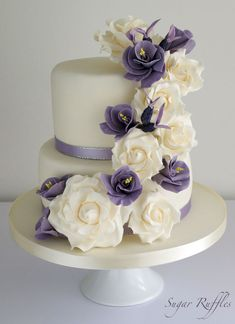 Purple Floral Cascade Wedding Cake