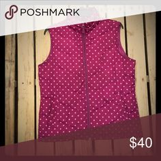 Winter Vest Purple with pink Doka dots! Great splash of color over and sweater or button up. Can be an athletic vest. Lands' End Jackets & Coats Vests