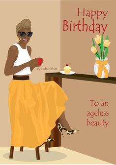 Card AVAILABLE NOW-This Afrocentric birthday card women has a beautiful, elegant, and fashionable happy black woman at a coffee shop celebrating her birthday. She is wearing a leopard print headscarf, a yellow maxi dress, white tank top, and leopard print high heel shoes. There's a vase with yellow lilies and a yellow bow. Original art by Isidra Sabio