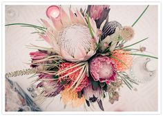 Exotic protea for floral #wedding centerpiece for a bohemian #Philadelphia wedding | Photo by Gary Ashley of The Wedding Artists Collective; Floral design by Sullivan Owen