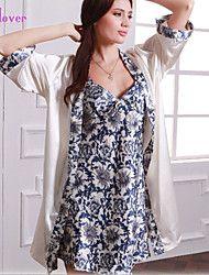 Women Robe Nightgown Sets Silk Luxury Floral Satin Pajamas Set Feminino Night Dress For Women Sleepwear Homewear Pijama Pyjamas Silk Sleepwear, Sleepwear Sets, Silk Pajamas, Sleepwear Women, Lingerie Sleepwear, Pyjamas, Pijama Satin, Satin Pyjama Set, Half Sleeve Women