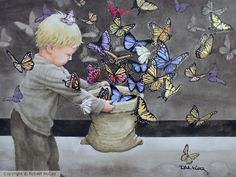 on Strathmore 400 My Arts, Butterfly, Watercolor, Boys, Painting, Fictional Characters, Baby Boys, Watercolour, Watercolor Painting