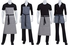 contrast/apron, cut more closely to body More