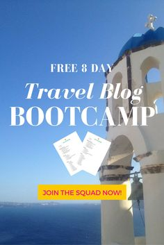 Enroll in the Free 8 Day Travel Blog Bootcamp and Challenge Yourself to be a Better Travel Blogger Today. Access to 8 actionable lessons on everything from myths, mistakes I've made and lessons I've learnt. + Downloadable Worksheets!