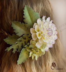 Заколка с георгином цветы из фоамирана мастер-класс