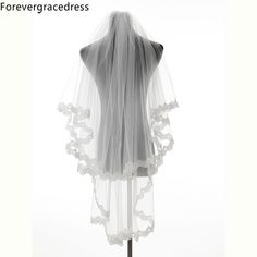 Forevergracedress New Design Ivory White Lace Edge Two Layers Wedding Accessories Tulle Bridal Veil with Comb