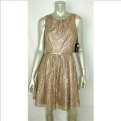 """NWT Jessica Howard lace dinner dress ~~Jessica Howard lovely lace dinner, cocktail or      party dress  ~~size 10 petite, likely 6-8 see measurements ~~Taupe, gold sparkle woven thru lace ~~ liner all the way, dual liner at skirt part. ~~ hidden zipper up back, with top hook closure ~~matching belt included ~~msrp $168  Measurements taken laying flat  Armpit to armpit 17"""", waist 15"""" Shoulder to hem 35"""" ; scoop neck 8"""" this is just so pretty. First pic taken in light not true color.  2nd…"""