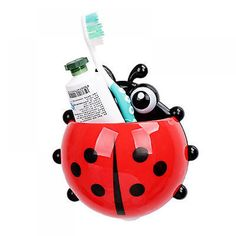 1PC Ladybug toothbrush holder Toiletries Toothpaste Holder Bathroom Sets Suction Hooks Tooth Brush container ladybird on sale [Affiliate]