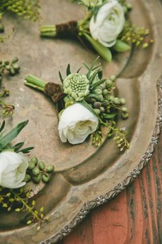 Green and white boutonnieres