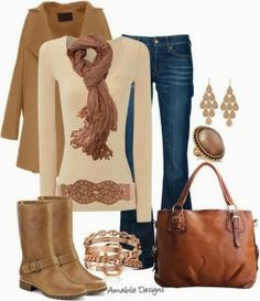 Light brown long coat, scarf, blouse, jeans and hand bag combination for fall