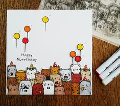 Mama Elephant - The Cat's Meow - The Cat's Meow – Mama Elephant The best image about diy clothes for your taste You are looki - Creative Birthday Cards, Funny Birthday Cards, Card Birthday, Tarjetas Diy, Birthday Card Drawing, Bday Cards, Animal Cards, Cute Cards, Homemade Cards