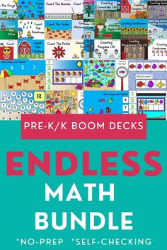 No more spending hours searching for digital task cards to teach and entertain your students! This bundle contains a wide variety of BOOM decks for pre-k/k level math and will automatically be updated for free with any new games I create in the future! You can teach with ease when you don't have to prep and print beforehand. Enjoy more time off with self checking activities. This endless bundle is full of fun and engaging games that kids will love to use again and again and again. Worksheets For Kids, Printable Worksheets, Free Printable, Printables, Learning Cards, Learning Stations, Kindergarten Centers, Easy Arts And Crafts, Fun Games For Kids